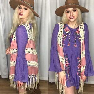 SALE Umgee NWT Boutique Boho Crochet Vest Cardigan